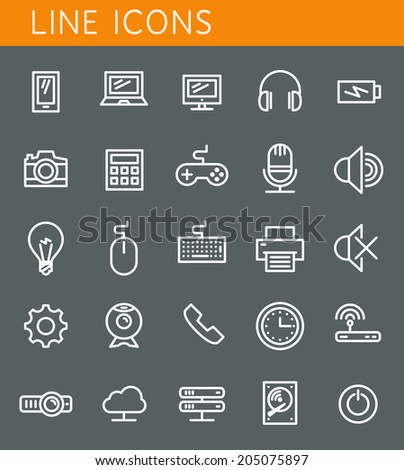 Line icons set. Technology media objects. Vector web design elements - stock vector