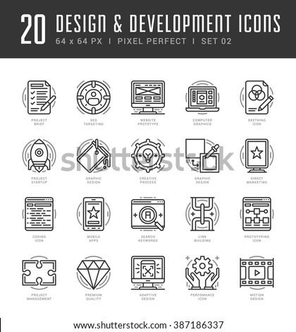 Line icons set. Trendy Modern flat thin linear stroke vector Design and Development concept. For website graphics, Mobile Apps, Infographics design, Brochures. Outline pictogram pack - stock vector