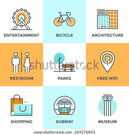 Line icons set with flat design elements of city architecture, landmark entertainment, place for rest, park with free wifi hotspot, people restroom. Modern vector logo pictogram collection concept. - stock vector