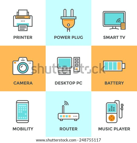Line icons set with flat design elements of consumer electronics and computer technology devices, power plug and energy battery. Modern vector pictogram collection concept. - stock vector
