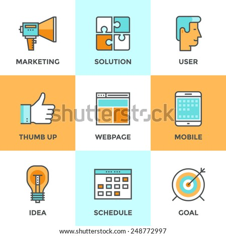 Line icons set with flat design elements of digital marketing promotion and effective web media solution, success idea development for internet campaign. Modern vector pictogram collection concept. - stock vector