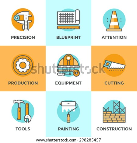 Line icons set with flat design elements of engineering construction equipment, building architecture structure, working tools for repair and renovation. Modern vector pictogram collection concept. - stock vector