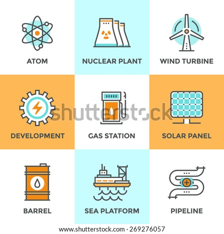 Line icons set with flat design elements of global energy development, nuclear power plant, wind turbine, oil barrel, solar panel, pipeline transport. Modern vector logo pictogram collection concept. - stock vector