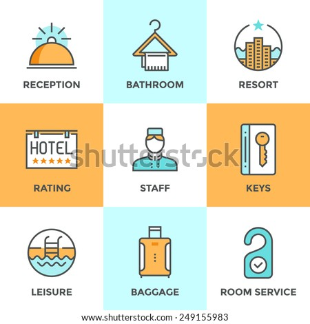 Line icons set with flat design elements of hotel services and luxury resort accommodation, reception bell, room keys, leisure activity, tourist baggage. Modern vector pictogram collection concept. - stock vector
