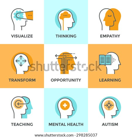 Line icons set with flat design elements of human mind process, people brain thinking, mental health and autism problem, opportunities and mental transform. Modern vector pictogram collection concept. - stock vector