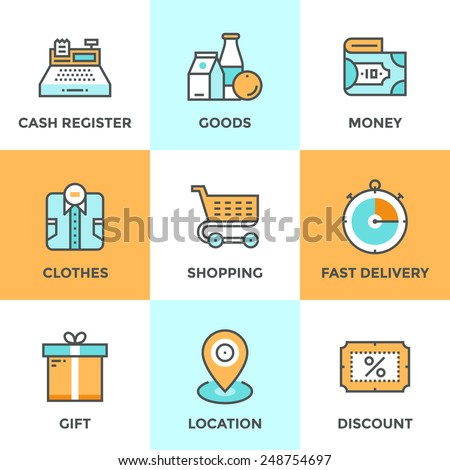 Line icons set with flat design elements of shopping symbol, discount for products,  shop elements and commerce items, market objects and store products. Modern vector pictogram collection concept.   - stock vector