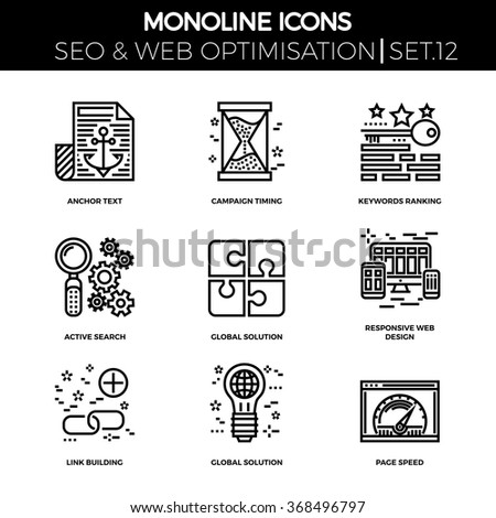 Line icons set with flat design of search engine optimization. Anchor text, campaign timing, keywords ranking, active search, global solution, responsive web design, link building, page speed.  - stock vector