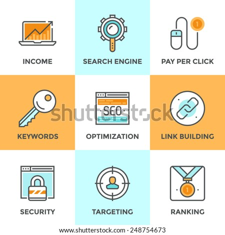 Line icons set with flat design of search engine optimization, optimize website with SEO for traffic growth and rank result, keywording and link building. Modern vector pictogram collection concept. - stock vector
