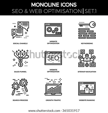 Line icons set with flat design of search engine optimization. Social chanels, keywording, sales funnel, sitemap navigation, search process, growth traffic, ranking. Monoline icons. - stock vector
