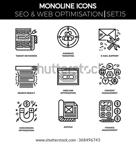 Line icons set with flat design of search engine optimization. Target keywords, audience, email support, search result, web link optimization, content management, conversion, article, finance. - stock vector