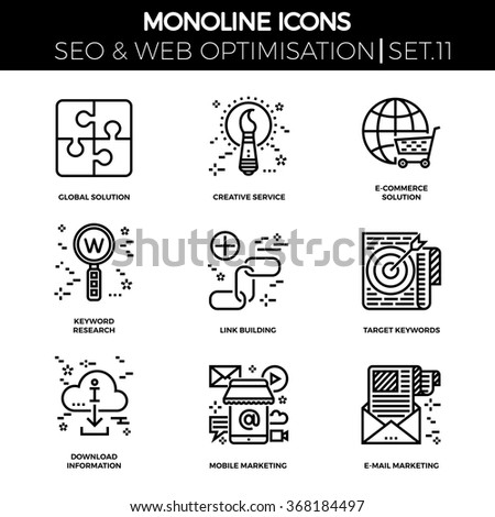 Line icons set with flat design of seo. Global solution, creative service, e-commerce, keyword research, link building, target keywords, download information, mobile marketing, e-mail marketing - stock vector