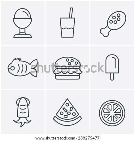Line Icons Style Food Icons Set, Vector Design - stock vector