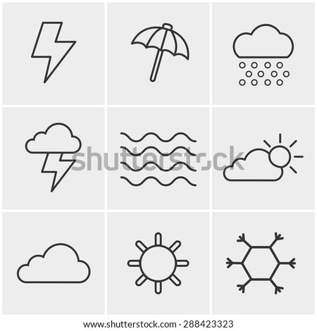 Line Icons Style   weather  Icons Set, Vector Design - stock vector