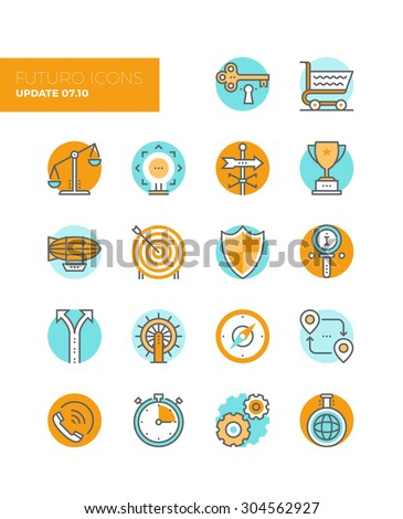 Line icons with flat design elements of business solution symbol, market balance, marketing goal target, key to success, various metaphors. Modern infographic vector logo pictogram collection concept. - stock vector