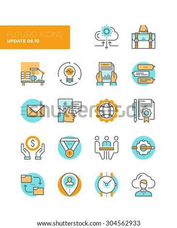 Line icons with flat design elements of corporate business work flow, cloud solution for small team, startup development and management. Modern infographic vector logo pictogram collection concept. - stock vector