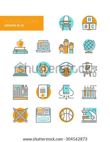 Line icons with flat design elements of education technology for teaching online, studying books with cloud library, innovation research. Modern infographic vector logo pictogram collection concept. - stock vector