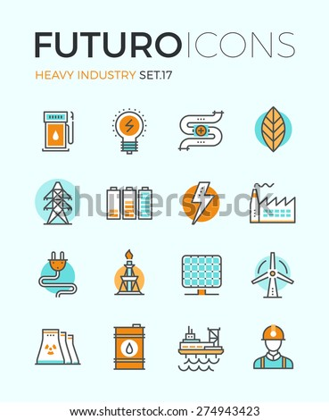 Line icons with flat design elements of power and energy heavy industry, factory production, oil extraction, renewable energy develop. Modern infographic vector logo pictogram collection concept. - stock vector