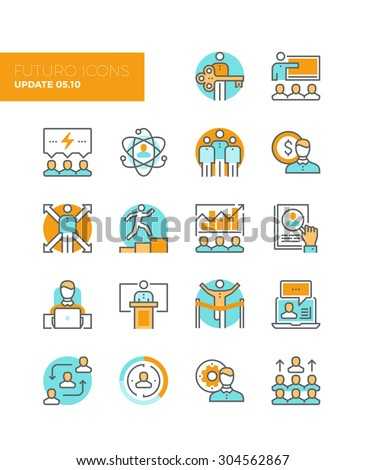 Line icons with flat design elements of team building organization, leadership development, personal training, business people management. Modern infographic vector logo pictogram collection concept. - stock vector