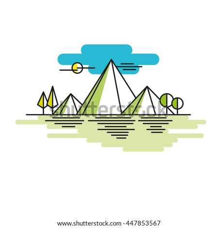 Line illustration mountains in color. Vector linear - stock vector