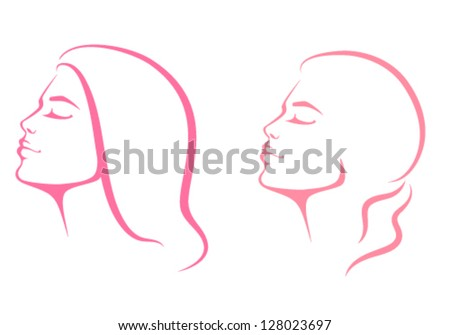 line illustration of a beautiful woman face from profile view - stock vector