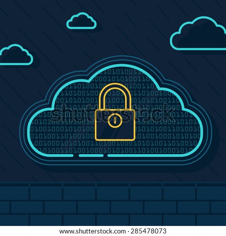 Line Illustration of  Cloud Security with Security Wall and Locker - stock vector