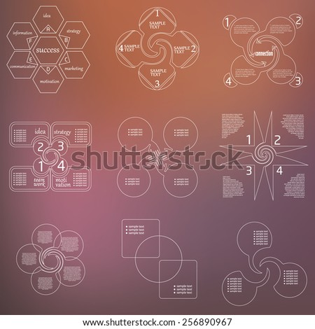 line  infographic, diagramm set  - stock vector
