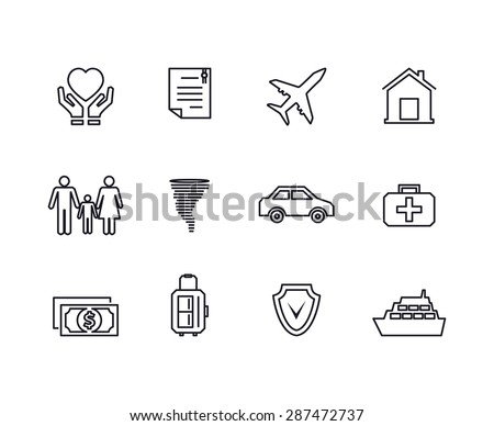 Line insurance icons set. Protection finance, security and documents and contract,. Vector illustration - stock vector