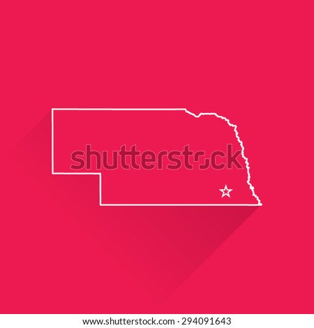 Line Map of Nebraska - stock vector