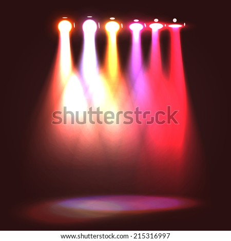 Line of hanging stage projectors warm colors different angles casting spots of light on the floor, range from full turned on spectator to small slit, colors from bright to red. - stock vector