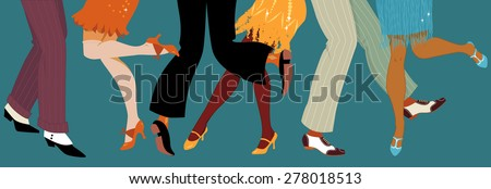 Line of men and women legs in 1920s style footwear dancing the Charleston, vector illustration, no transparencies, EPS 8 - stock vector