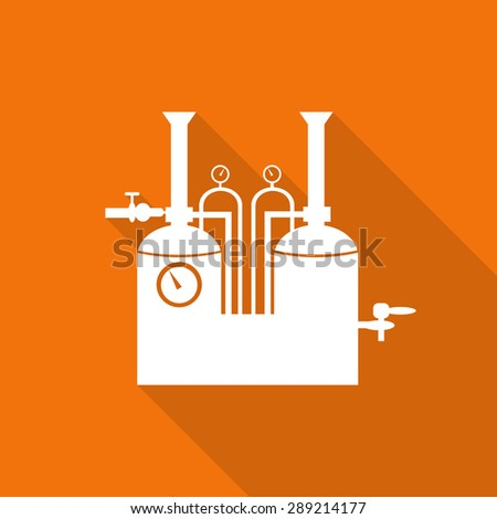 Line of two traditional brewing vessels in brewery flat icon with long shadow. - stock vector