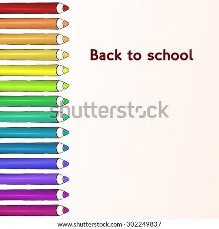 Line of vector colored pencils. EPS 10 vector - stock vector