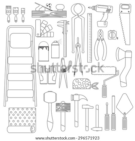 line set of tools. Contains hammers, saw, compasses, brushes, paints, and much more. Flat. White background - stock vector