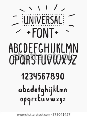 Line simple font. Universal alphabet with small and capital letters, numbers for your design, business - stock vector