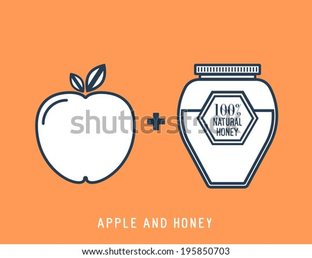Line style honey and apple vector icon illustration. - stock vector