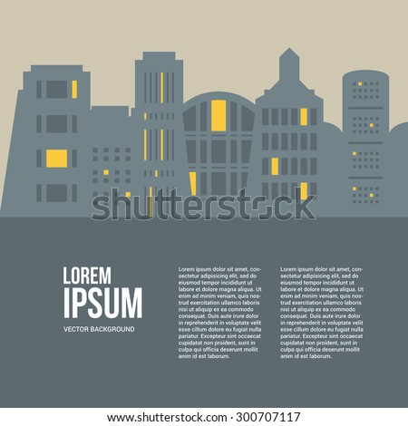 Line style urban graphic template made in vector. Modern buildings  with place for your text. Architectural or constructional flyer design.  - stock vector