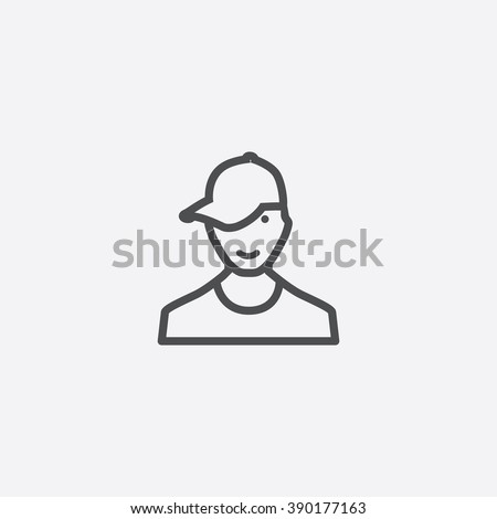 line teenager Icon - stock vector