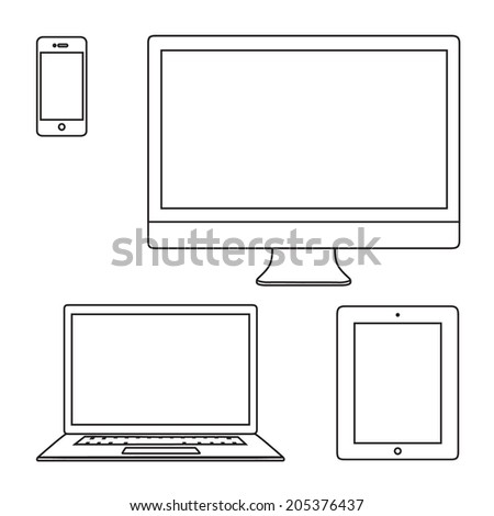 Line thin vector illustration set of laptop, tablet, monitor, phone isolated on white - stock vector