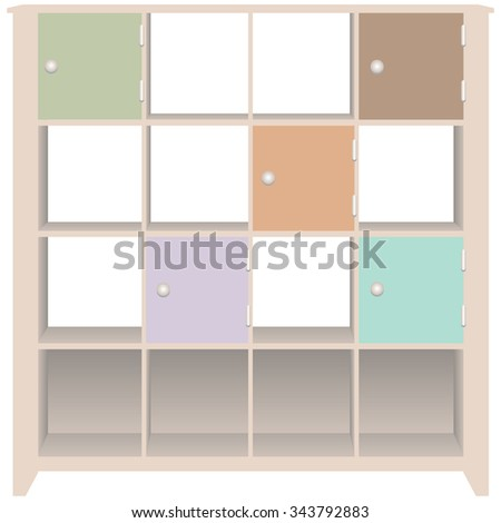 Line trim cabinet with doors for office documents. - stock vector