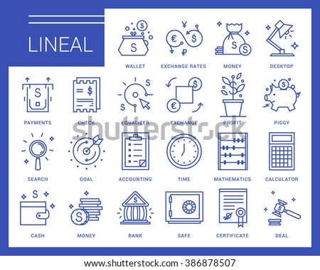 Line vector icons in a modern style. Business and finance, exchange rates, financial services, banking environment and business space. - stock vector