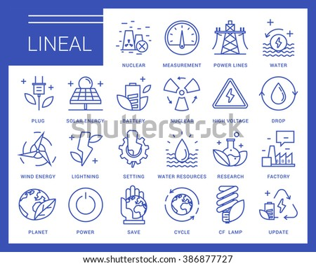 Line vector icons in a modern style. Heavy industry, power generation, water resources, pollution and environmentally friendly energy sources. - stock vector