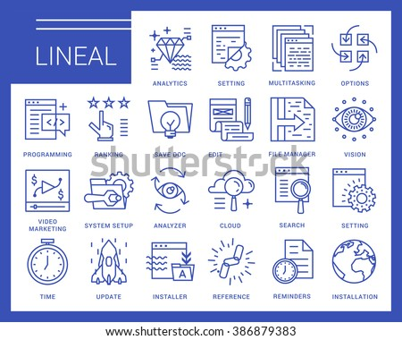 Line vector icons in a modern style. Programs and Features, windows applications, browser, pages prototyping interface, application programming. - stock vector
