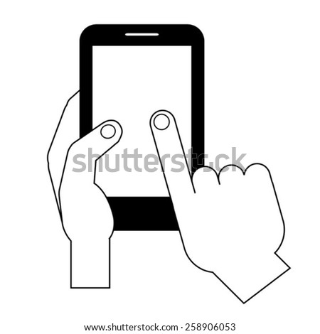 line vector image of  hand holding phone - stock vector