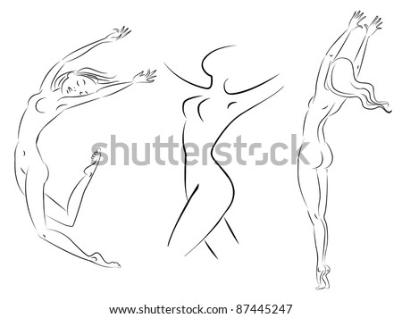 line woman, vector illustration - stock vector