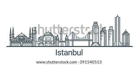 Linear banner of Istanbul city. All buildings - customizable different objects with background fill, so you can change composition for your project. Line art. - stock vector