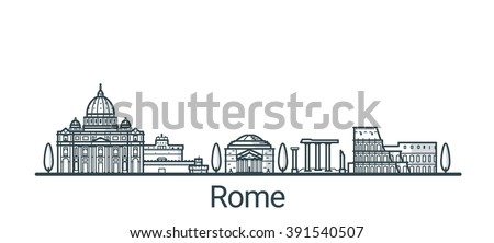 Linear banner of Rome city. All buildings - customizable different objects with background fill, so you can change composition for your project. Line art. - stock vector
