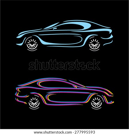Linear car silhouette. Sport car vector on black background. - stock vector