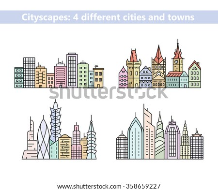 Linear cityscapes. Urban city and old town skyline and buildings. Vector illustration - stock vector