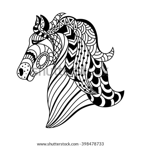 linear decorative horse. Doodles art, zentangle. A template for coloring. vector illustration - stock vector