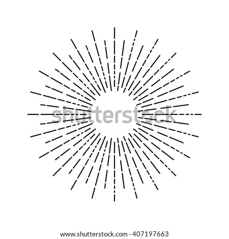 Linear drawing of rays of the sun in vintage style.  - stock vector